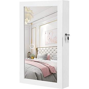 SONGMICS Lockable Jewelry Cabinet Armoire with Mirror, Wall-Mounted Space Saving Jewelry Storage Organizer, White UJJC51WT
