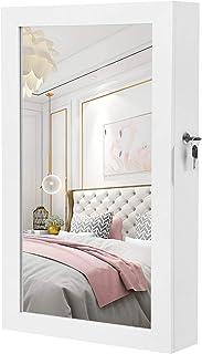SONGMICS Lockable Jewelry Cabinet Armoire with Mirror, Wall-Mounted Space Saving Jewelry Storage Organizer White UJJC51WT