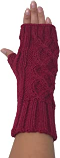 Alpaca Wool Hand-knit Cable Texting Gloves - Fingerless Mittens - Wrist, Hand & Arm Warmers