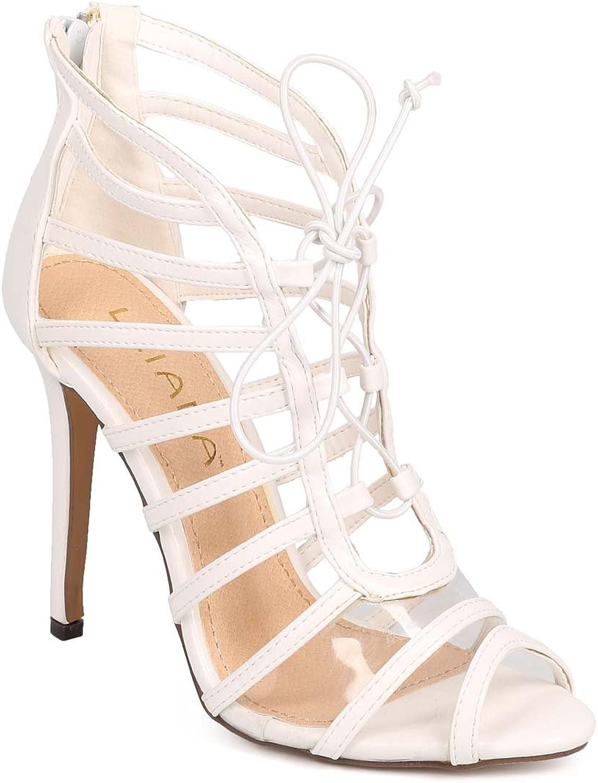 Liliana DH01 Women Leatherette Lucite Peep Toe Thin Strap Caged Stiletto Single Sole Sandal - White