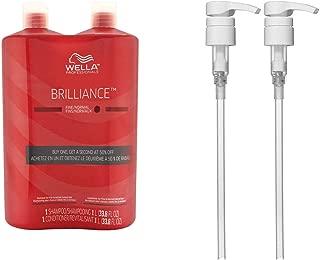 Wella Brilliance Shampoo & Conditioner for Fine Colored Hair Liter Set + Wella Liter Pumps (2)
