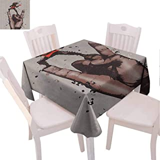 Zara Henry Design Fantasy Art House Decor Reusable Plastic Tablecloth, Musician Bass Guitarist with Rock N Roll Gesture Heavy Metal Image Coral Brown, 36x36 Inch