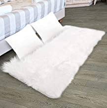Faux Fur Rug & 2 Faux Fur Pillow Cases for Bedroom, Living Room, Daughters Room (2 Feet x 4 Feet) — Fur Rugs for Living Room and Fur Rugs for Bedroom — Faux Fur Throw Rug for Couch — Shag & Fluffy Rug