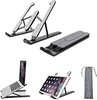 Laptop Stand, Foldable Portable Desktop Laptop Holder, Computer Stand ABS+silicone+built-in metal 6-Levels Angles Adjustab...