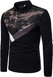 T-Shirt da Uomo Manica Lunga Girocollo Camicia Slim Fit Moda Camouflage Zip Patchwork Felpa Sport Casual Maglietta Traspir...