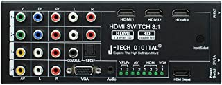 J-Tech Digital Latest Generation Multi-Functional HDMI Audio Extractor with 8 Inputs to 1 HDMI Output with Optical/Coaxial 5.1 Channel Support 3D & Surround Sound