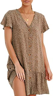 Womens Polka Dot Beach Mini Dress Boho V Neck Button Down Ruffle T-Shirt Dresses