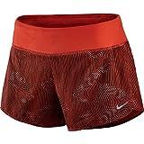NIKE Zen 3' Rival Short - Pantalón Corto para Mujer, Color Rojo/Plateado, Talla L