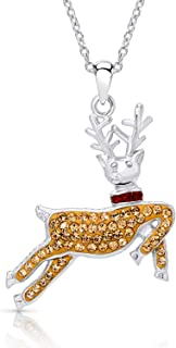 BLING BIJOUX Jewelry Cozy Crystal Santa Claus' Reindeer for Christmas Winter Holiday Pendant Necklace Never Rust 925 Sterl...