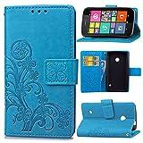 Schutzhülle Für Nokia Lumia 530 , pinlu® Handyhülle Hohe Qualität PU Ledertasche Brieftasche Mit Stand Function Innenschlitzen Design Glücklich Klee Muster Blau