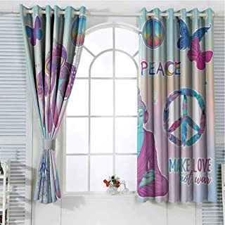 Jinguizi Grommet Window Curtain Kids Room Decor Trippy,Psychedelic Tripping Mushrooms All Seeing Butterflies Peace Make Love Print,Multicolor Curtain Holdback 84 x 72 inch