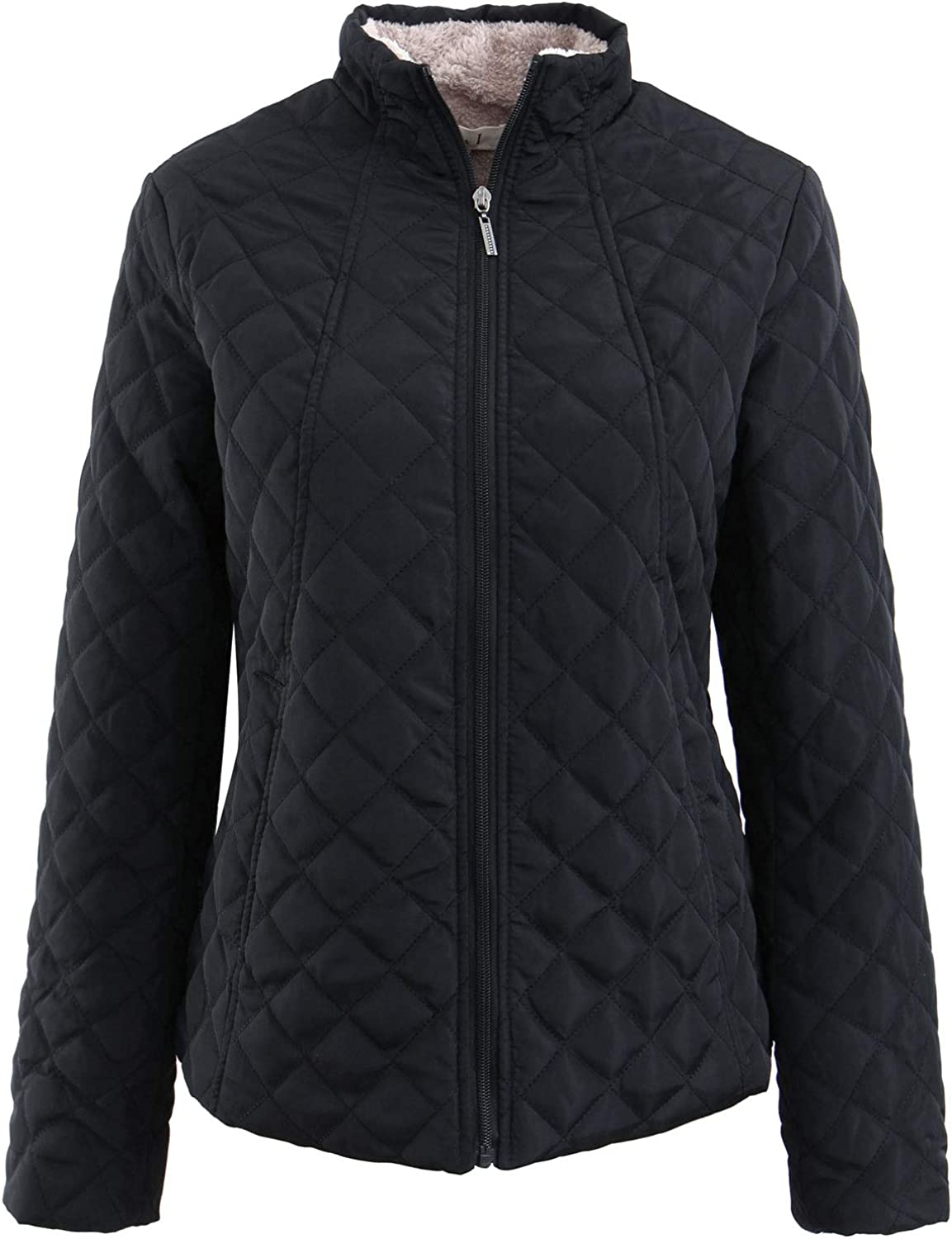 Amormio Womens Classic Full-Zip Slim-Fit Lamb Wool Coat Diamond Lightweight Padded Quilted Jacket Parka Outwear
