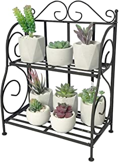 2-Tier Plant Stand for Small Succulents, Metal Spice Rack Black, Countertop Kitchen Seasoning Organizers, Foldable Vintage Farmhouse Style Shelf