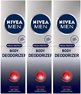 Nivea Men Body Deodorizer, Intense, 120 ml (Pack of 3)