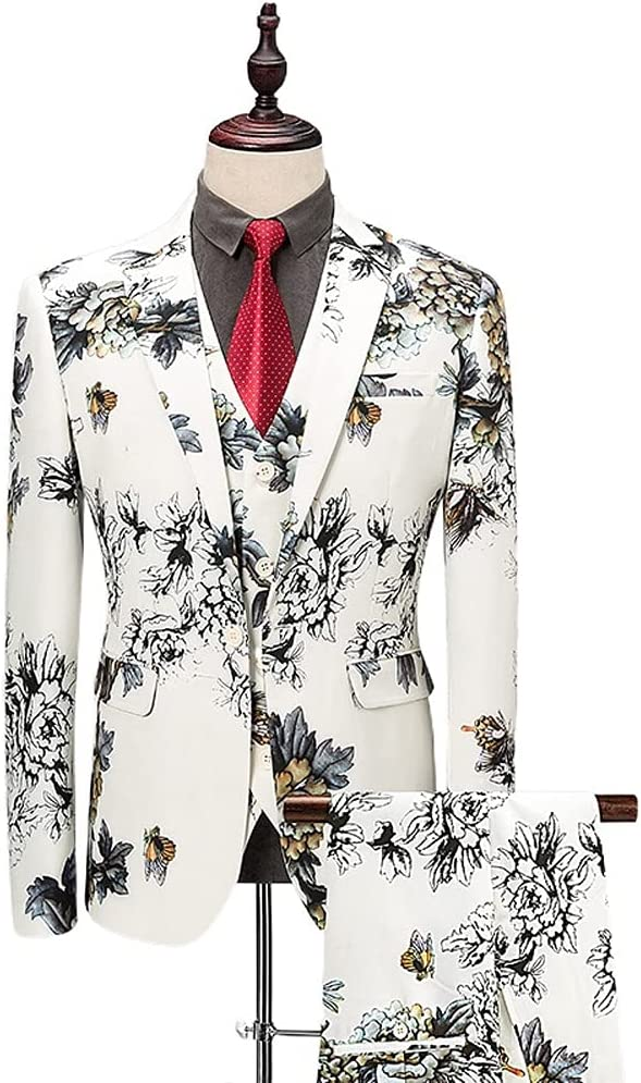 ZYKBB New Korean Version of the Three-piece Suit, Performance Dress, Groom Nightclub Suit (Color : White, Size : XXXL for 75 to 80 kg)