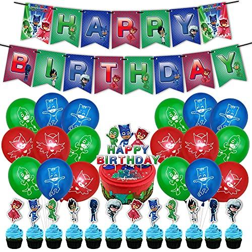 Hilloly 32 pcs PJ Masks Globos Pancarta de Feliz Cumpleaños Adornos para Pastel de Juegos para Niños Cake Topper Pijamas Enmascarados para Fiesta de cumpleaños Decoraciones