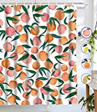 Lifeel Peach Shower Curtains, Allover Fruits Shower Curtain Cute Bright Colorful Design Waterproof Fabric Bathroom Shower Curtain Set with 12 Hooks, Peachy Pink 72