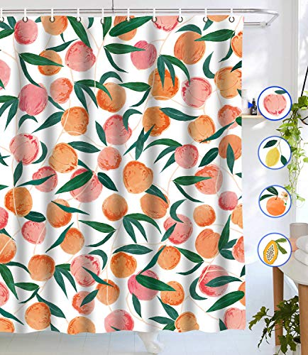 """Lifeel Peach Shower Curtains, Allover Fruits Shower Curtain Cute Bright Colorful Design Waterproof Fabric Bathroom Shower Curtain Set with 12 Hooks, Peachy Pink 72""""×72"""""""