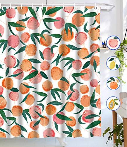 Lifeel Pfirsich-Duschvorhang, komplett mit Früchten, Duschvorhang, niedliches buntes Design, wasserdichter Stoff, Badezimmer-Duschvorhang-Set mit 12 Haken, pfirsichrosa 183 x 183 cm