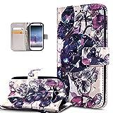 Kompatibel mit Schutzhülle Galaxy S3/S3 Neo Hülle Handyhülle,3D Bunte Gemalte Schmetterlings Muster PU Lederhülle Flip Ständer Wallet Handy Hülle Tasche Handy Schutzhülle,Schwarz Schmetterlings Blumen