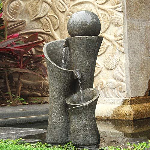 xpiyaer Modern Sphere Patio Floor Fountain 24', Faux Stone Indoor Outdoor Zen Floor Water Fountain with LED Lights for Home Garden,Patio Decor