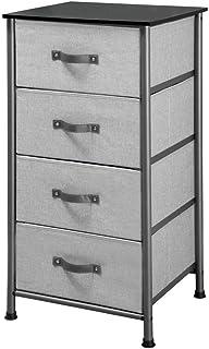 iDesign 05530EU Basic Commode à 4 tiroirs, Petit Meuble d'appoint pour Le Salon ou la Chambre en Tissu et métal, Gris Grap...