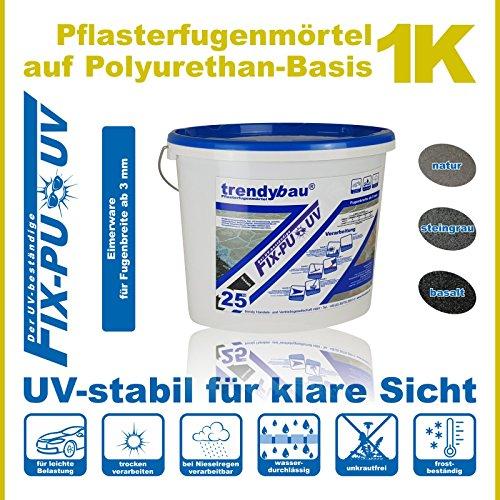 trendybau 1K PU Pflasterfugenmörtel, UV-stabil, für leichte Verkehrsbelastung - 25 kg (basalt) – NEUHEIT: wassertolerante Rezeptur