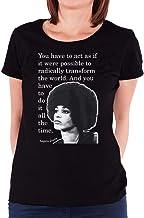 COOLCHINA Women's/Mujer Angela Davis Quotes Short-Sleeve Neck T-Shirts/Camiseta