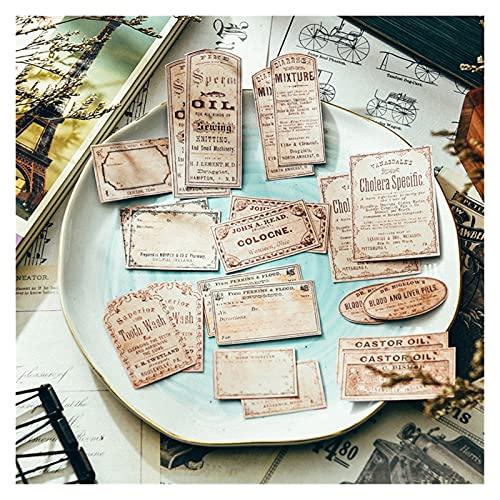 FQDSWS Etiqueta de Etiqueta de Etiqueta Vintage Bricolaje Scrapbook Album Teléfono Móvil Diario Plan Feliz Plano Pegatinas Decorativas Estudiante Hecho A Mano Pegatinas Retro