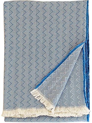 Lange Fischgrat Baumwolldecke 'Light Cotton', Plaid 100prozent Baumwolle mit kurzen Fransen 140x205cm, Wohndecke, Kuscheldecke, Tagesdecke, Sofadecke (blau-Creme)