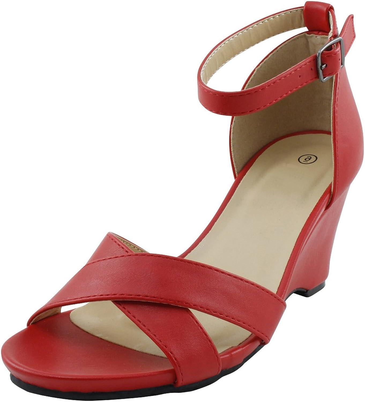 Cambridge Select Women's Open Toe Crisscross Ankle Strap Platform Wedge Sandal