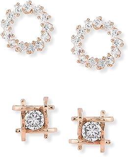 Zaveri Pearls Set of 2 Rose Gold Contemporary Cubic Zirconia Brass Stud Earrings For Women-ZPFK11146