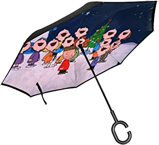 Charlie Brown Christmas Eve Reverse & Inverted Umbrella, Umbrella Windproof,Umbrellas for Women with UV Protection, Upside Down Umbrella with C-Shaped Handle