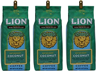 Lion Antioxidant Coffee, Enriched with Hawaiian Coffee Fruit Extract, Coconut Flavor, Light Roast - 8 oz Bag, Ground (3 x Bags)