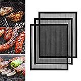 GWHOLE 3er Set BBQ Grill Mesh Matte Antihaft BBQ & Backmatte Wiederverwendbar Grillnetz für Öfen Kohle Gas Elektrogrill Backen Kochen, 40 * 33 cm