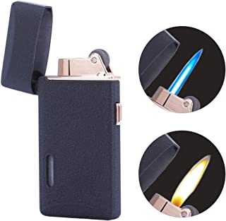 Jet Torch Cigar Lighter Soft/Jet Flame Switchable Cigarette Lighter with Visible Gas Tank, Adjustable Flame Dial, Butane Refillable for Tobacco Pipe & Cigar