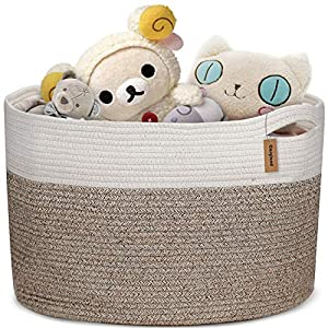 COSYLAND Large Woven Storage Basket Cotton Rope Organizer Baby Laundry Baskets for Blanket Toys Towels Nursery Hamper Bin with Handle