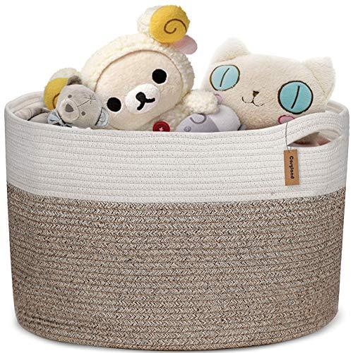 COSYLAND Baumwollseilkorb 50x50x33cm XXXL Baby Wäschekorb Geflochtener Korb Decke Korb Aufbewahrungskorb mit Griff für Decken Kissen und Spielzeug Wohnzimmer Boden Kinderzimmer