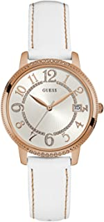 Guess Women'S White Dial Leather Band Watch - W0930L1,