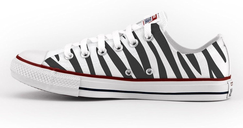 Converse All Star Personnalisé et Imprimés - Chaussures à la Main - Produit Italien - Zebra