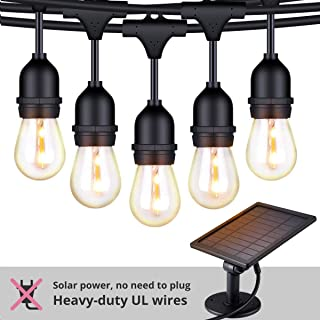 FOXLUX Solar String Lights - 48 ft LED Outdoor String Lights - Shatterproof, Waterproof Pergola Lights - 15 Hanging Sockets, Light Sensor, S14 Edison Bulbs - Decor for Patio, Backyard, Garden, Bistro