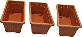 First Smart Plastic Rectangle Pot (13-inch, Brown, Pack of 3)