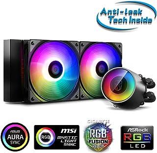 DeepCool Castle 240RGB V2 - Sistema de refrigeración antipalanca, radiador de 240 mm, disipador de líquido RGB Rainbow Addressable 5 V Add RGB 3 Pines, Compatible con Intel 115X/2066 y AMD TR4/AM4