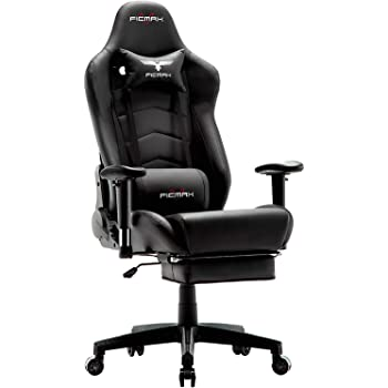 Ficmax Ergonomic Gaming Chair Massage Computer Gaming Chair Reclining Racing Office Chair with Footrest High Back Gamer Chair for E-sports Large size Gaming Desk Chair with Headrest and Lumbar Support