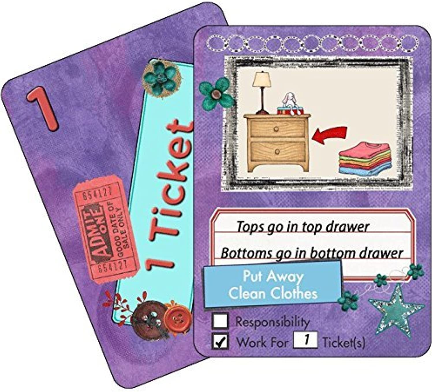 NEATLINGS Chore Cards. SelfCare Deck. 28 Chores. 21 Ticket Cards. Purple
