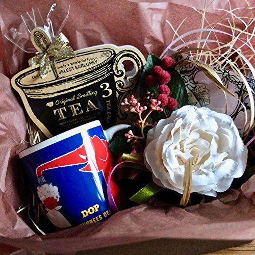 フラワー ギフト cafe,q カフェック、ストロベリーピンク チョコレート & 紅茶& サヴィニャック マグカップ(ドップ・ゾウさん)セットギフト (紅茶)