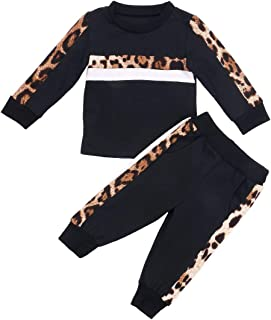 Toddler Baby Girl Fall Winter Clothes Leopard Heart Long Sleeve Tops Legging Pants Tracksuit Sweatsuit 2Pcs Outfit Set