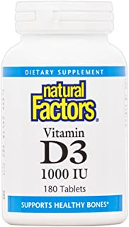 Natural Factors, Vitamin D3 1000 IU, Supports Strong Bones, Teeth, and Muscle and Immune Function, 180 tablets (180 servings)