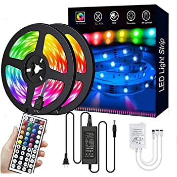 LED Strip Lights,32.8ft RGB 300LEDs Waterproof Light Strip Kits with infrared 44 Key, Suitable for Room,TV, Ceiling, Cupboard Bar Home Decoration