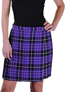 """LADIES WOMENS 18/"""" PLEATED WRAPPED OVER BUTTONED KILT TARTAN SKIRT UK SIZE 8-18"""